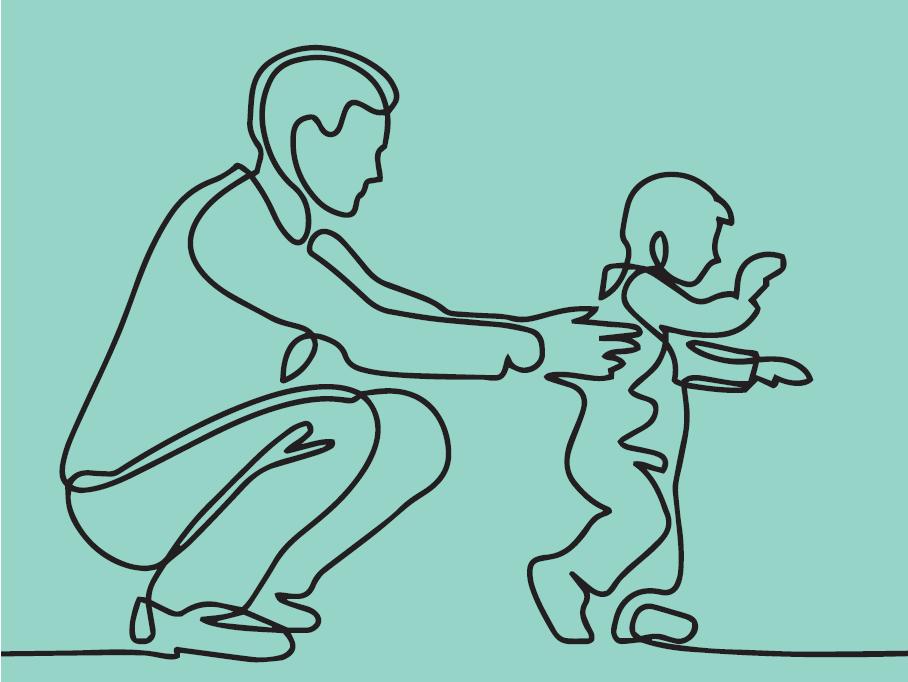 un adulte tient par les epaules un enfant debout qui marche