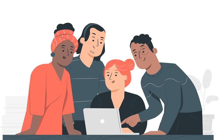 un groupe de personnes autour d'un ordinateur