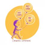 """illustration aux couleurs interesexes : une personne tiens trois ballons annoncant """" mon corps, mes choix, ma vie"""", et comme sous titre """"l'urgence d'attendre"""""""