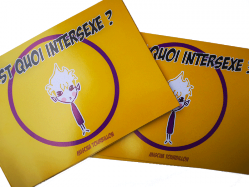 """bande dessinée au titre """"C'est quoi intersexe"""", un personnage se tient debout au centre du logo intersexe"""